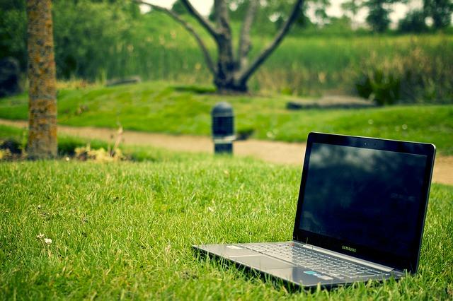 компьютер на траве