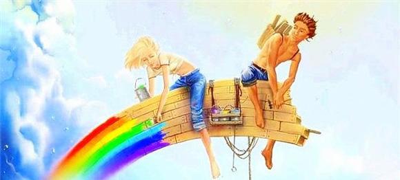 строят радугу